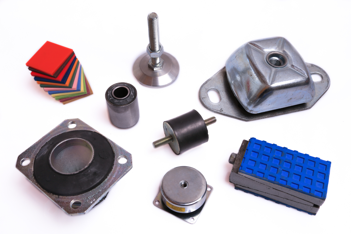 Machine mountings, mounts- and insulating elements